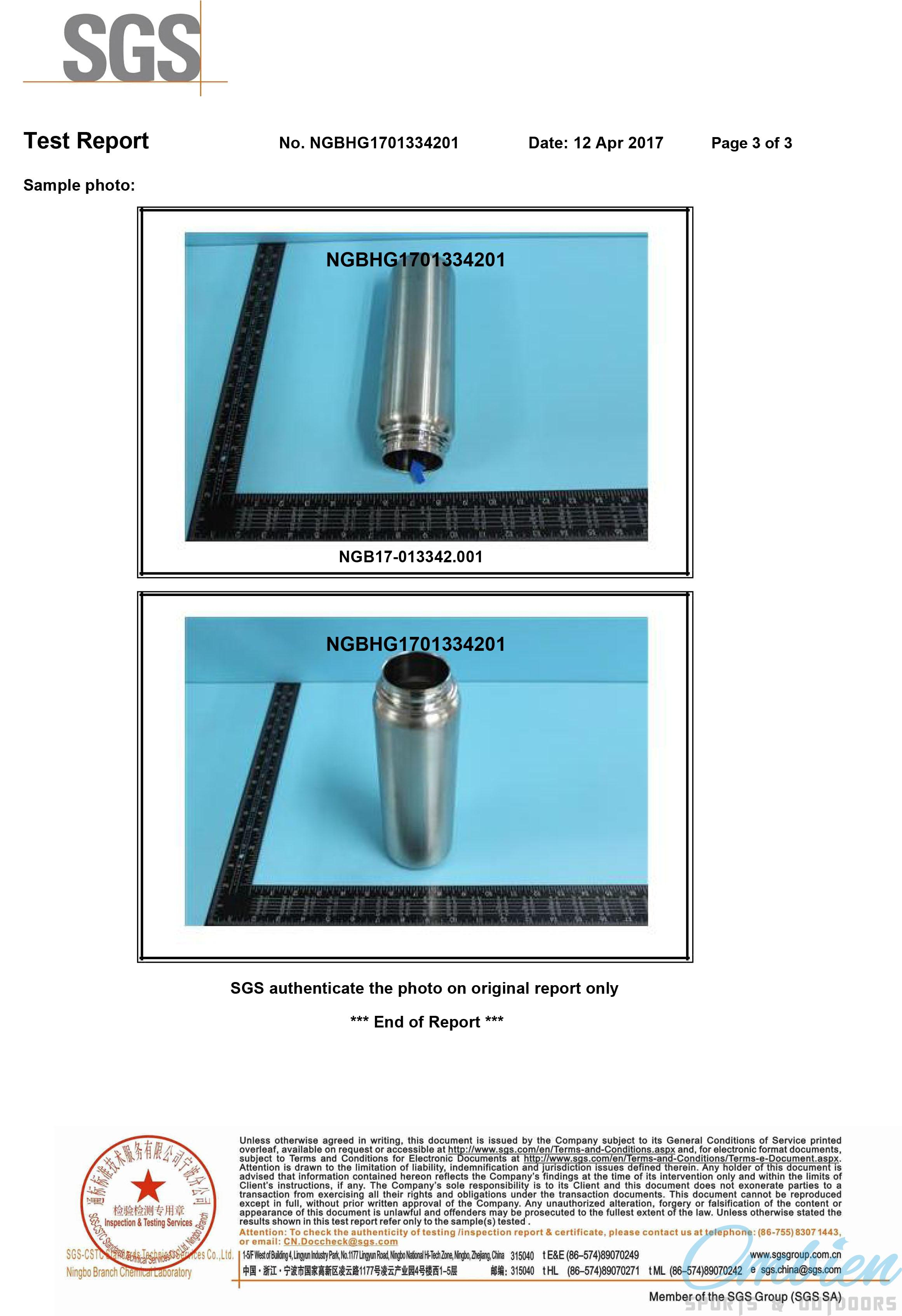 FDA test for stainless steel water bottle