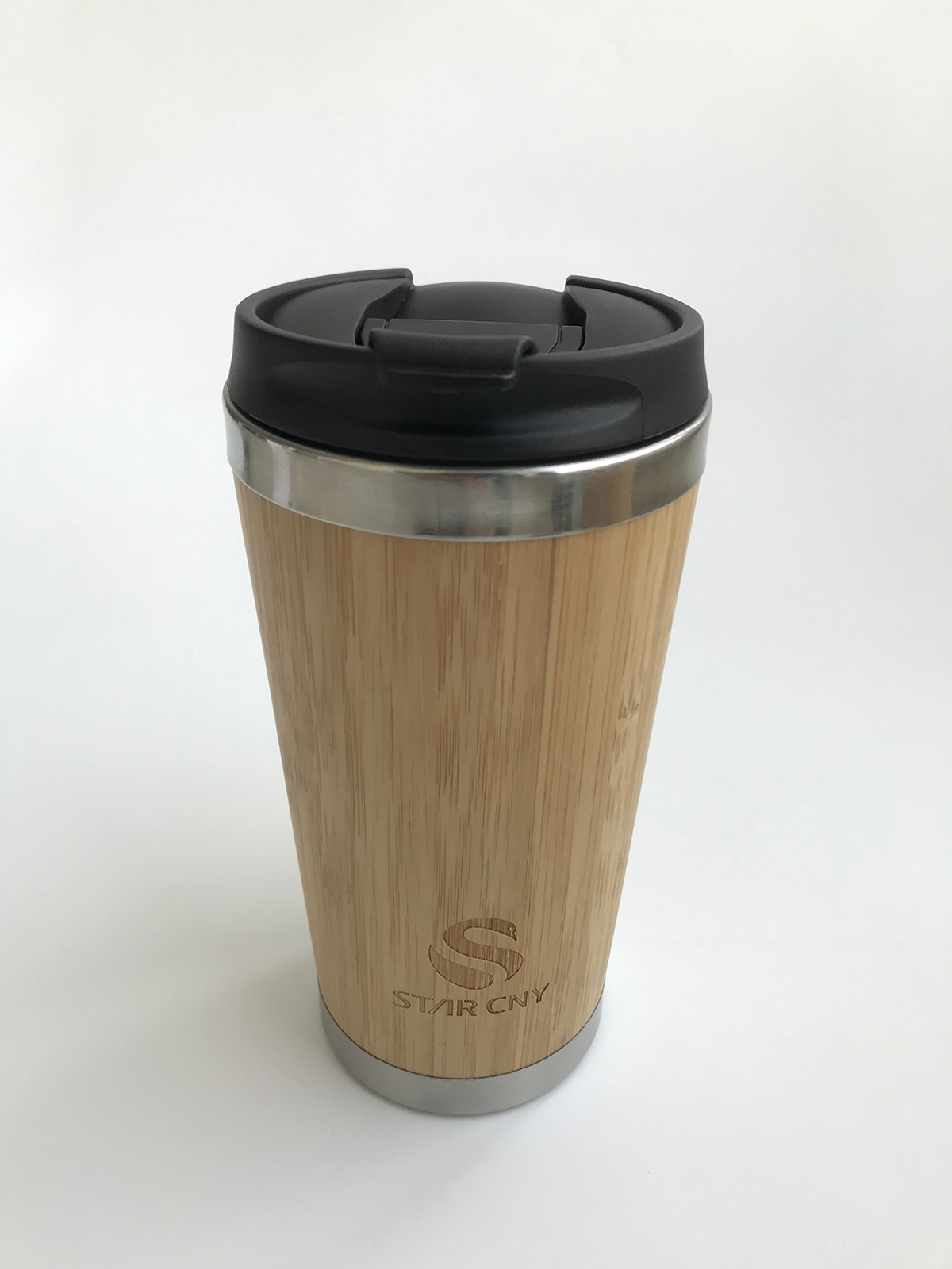 H67356 Stainless Steel Bamboo Coffee Tumbler